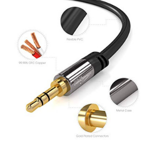 KabelDirekt Pro Series 6 feet 3.5mm Audio Aux Cord, 24k Gold-Plated, Male to Male Auxiliary Cable